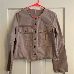 FREE PEOPLE Cropped Distressed Military Jacket S